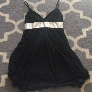 Black dress with cream satin sash tie